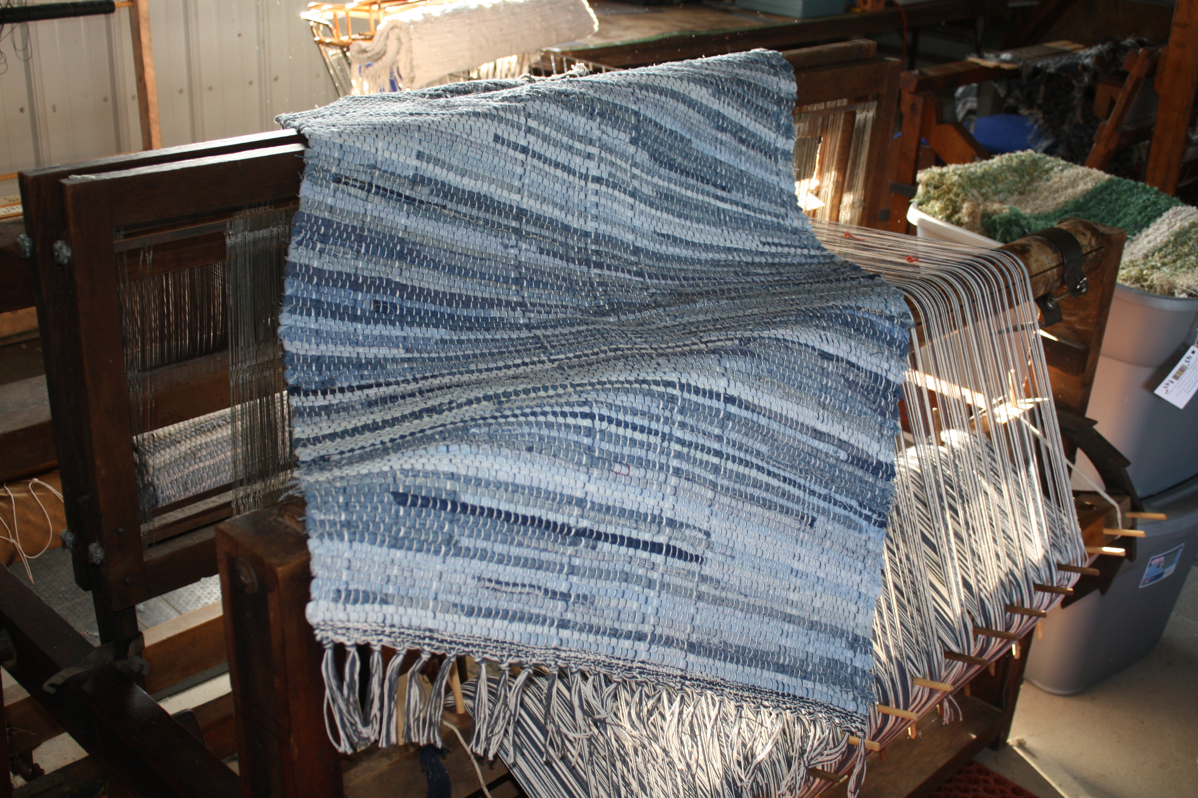 Denim rag rug