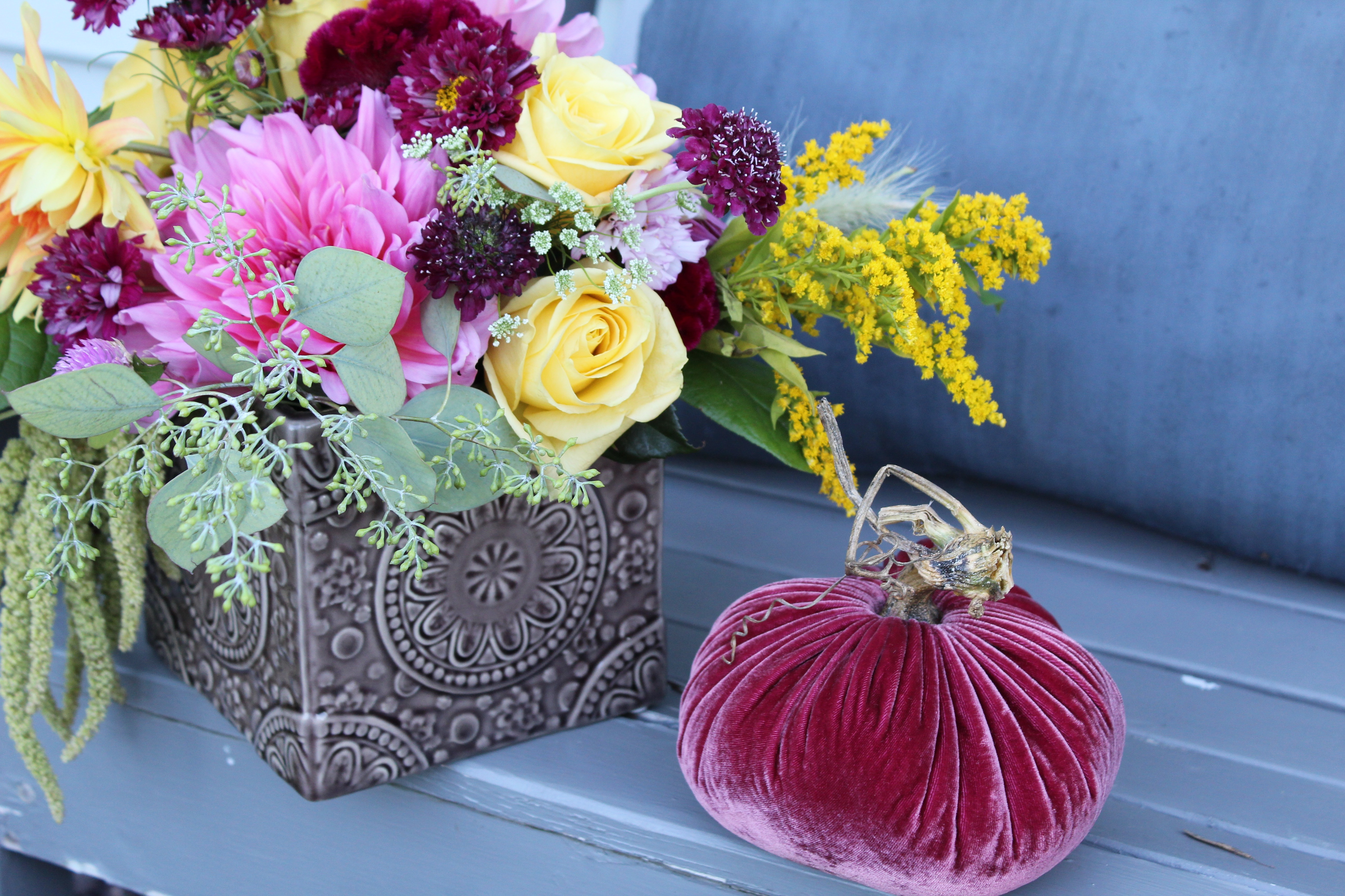 vignette styled with velvet pumpkin