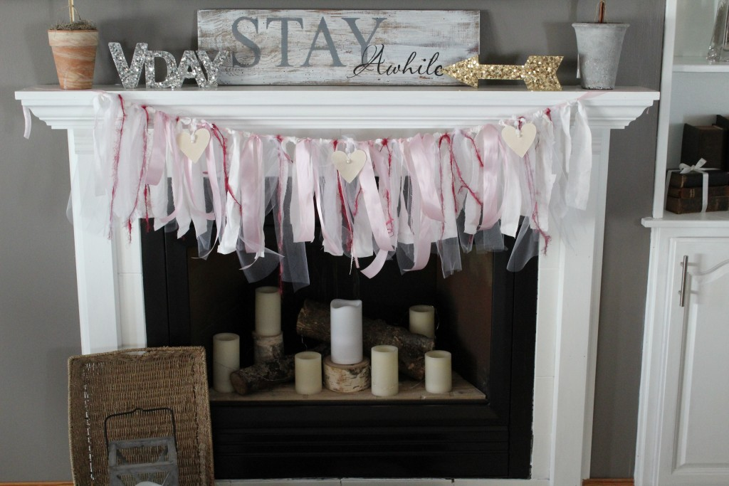 styling a mantle for valentine's day