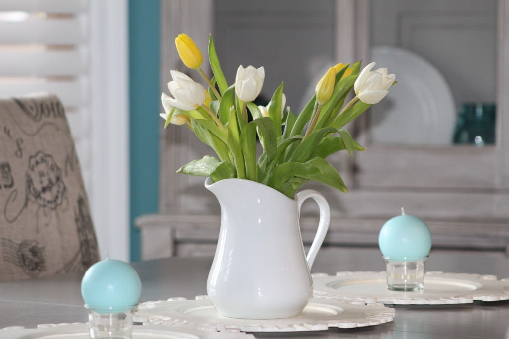 tulips in Easter centerpiece