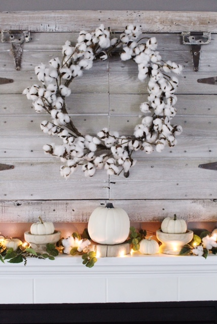 cotton wreath above mantle
