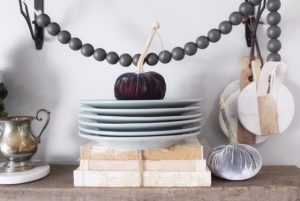 fall vignette for open farmhouse shelves