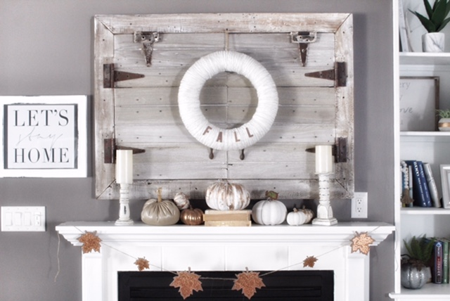 fall mantle decor with candlesticks