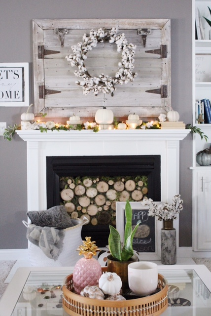 fall mantle decor with cotton wreath