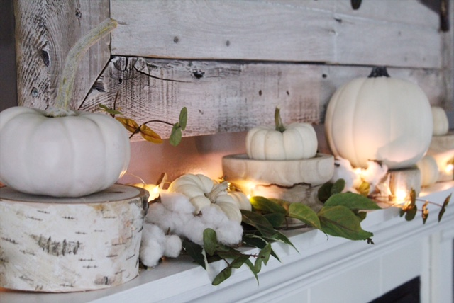 fall mantle decor and cotton stems