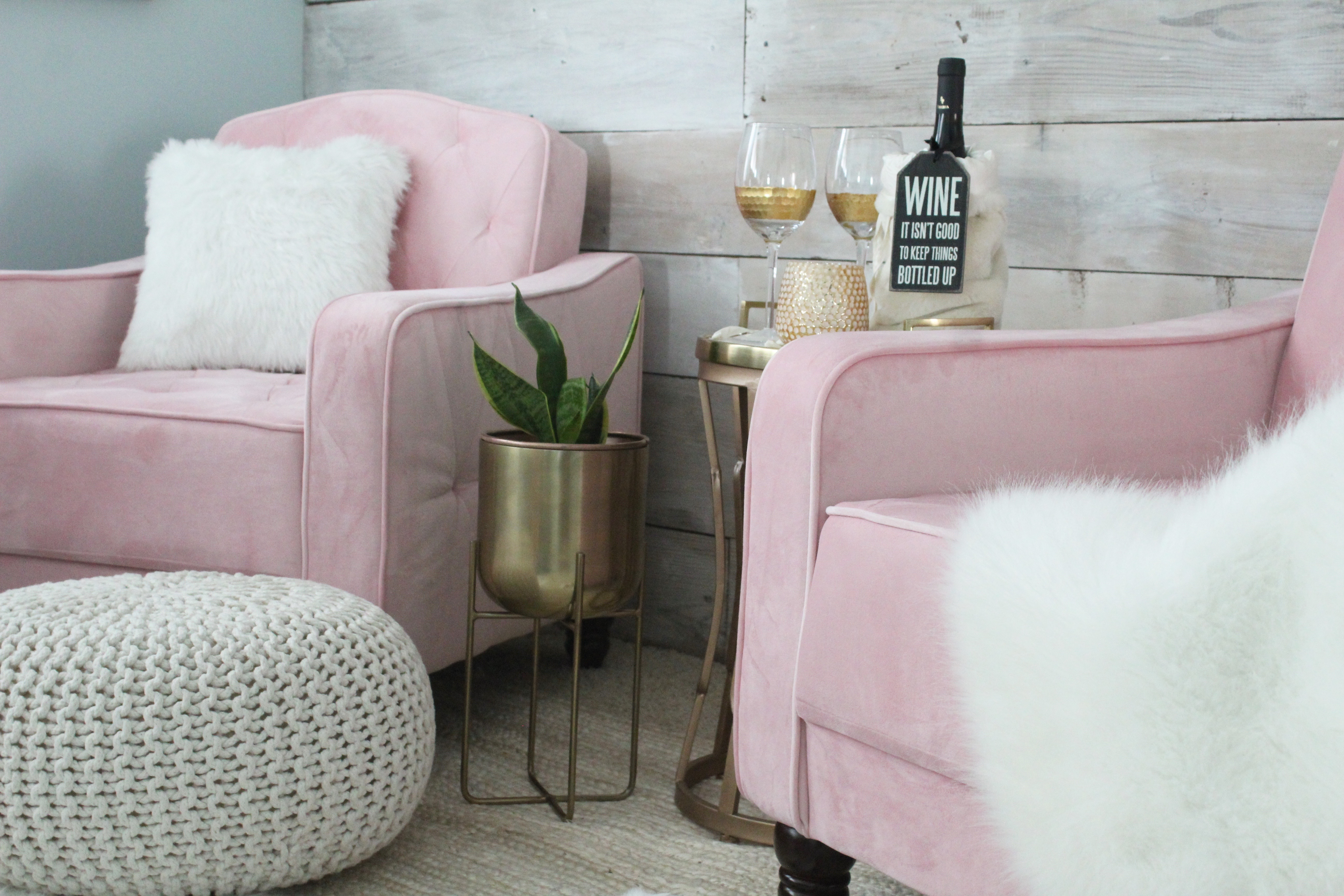pink tufted chairs