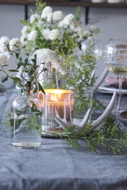 tablescape with left over mums