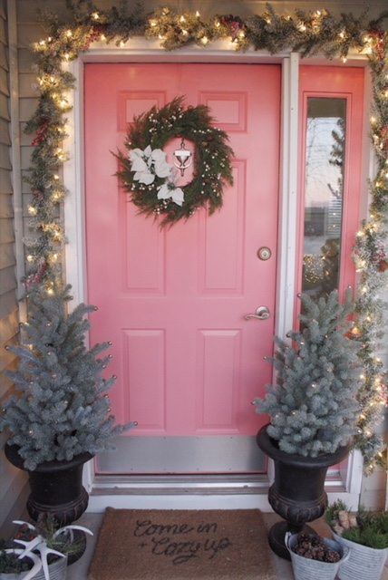 Christmas front door with Birch Lane Decor