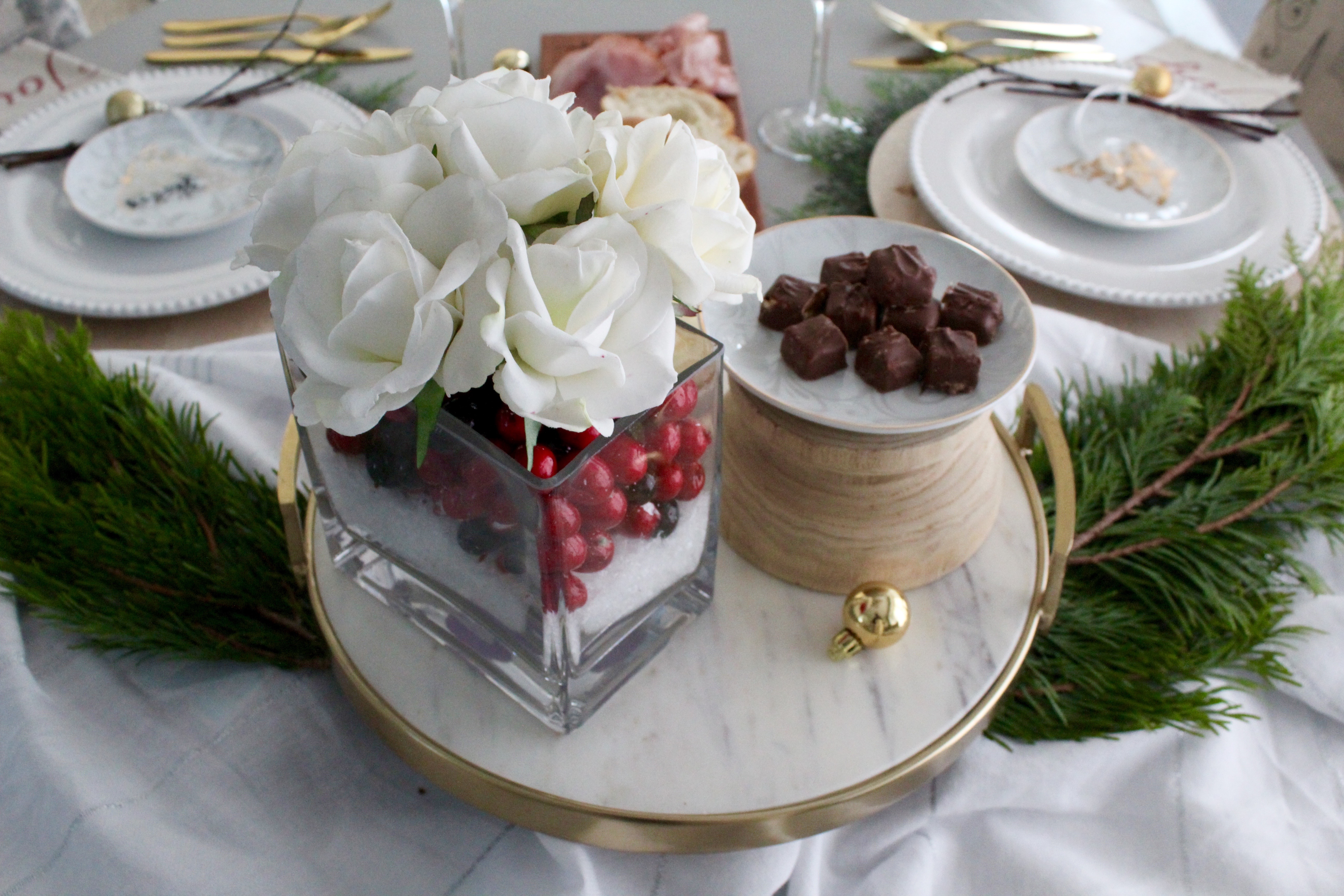 Christmas tablescape centerpiece