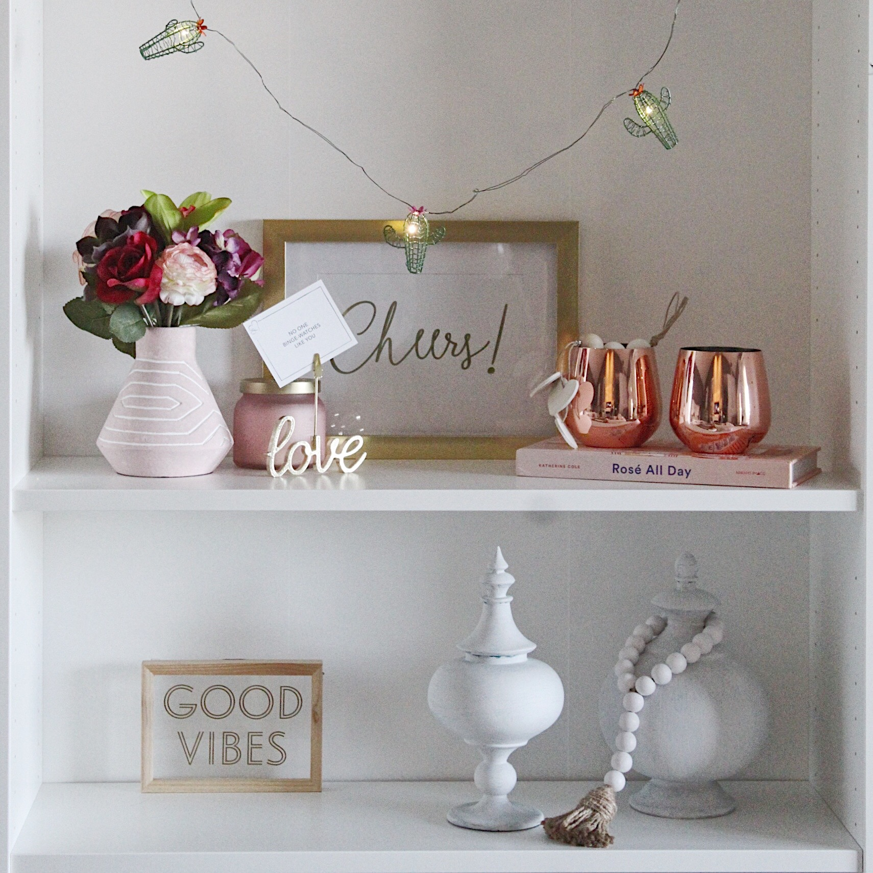 Valentine's Day simple shelf styling