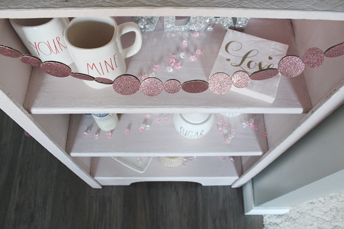 coffee bar makeover with Rust-oleum blush chalk paint