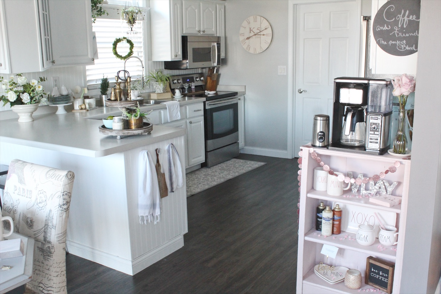 coffee bar facelift with blush chalk paint