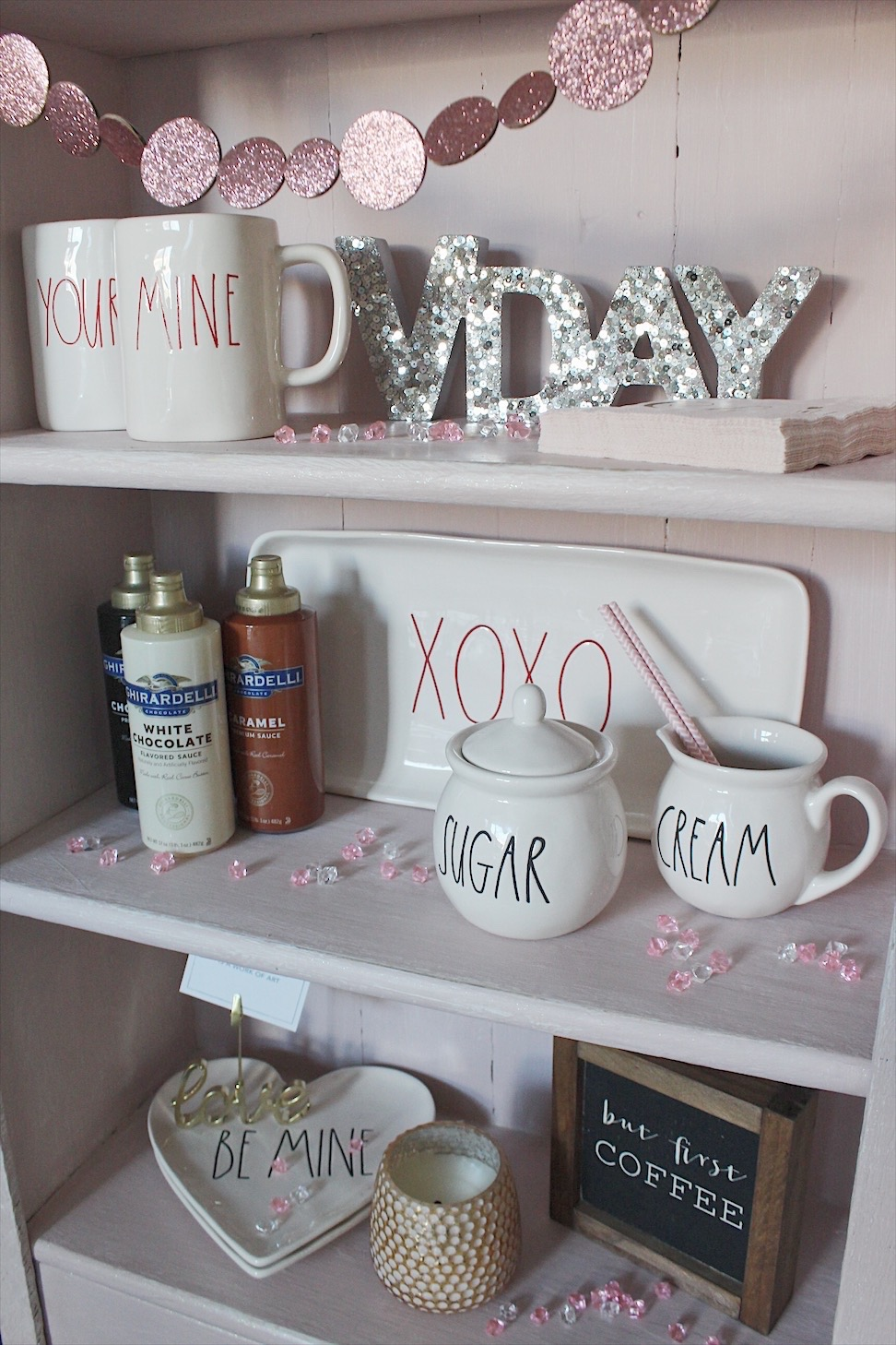 coffee bar styled for Valentine's day