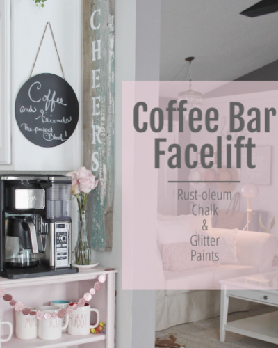 Blushing Coffee Bar DIY With Glitter Paint