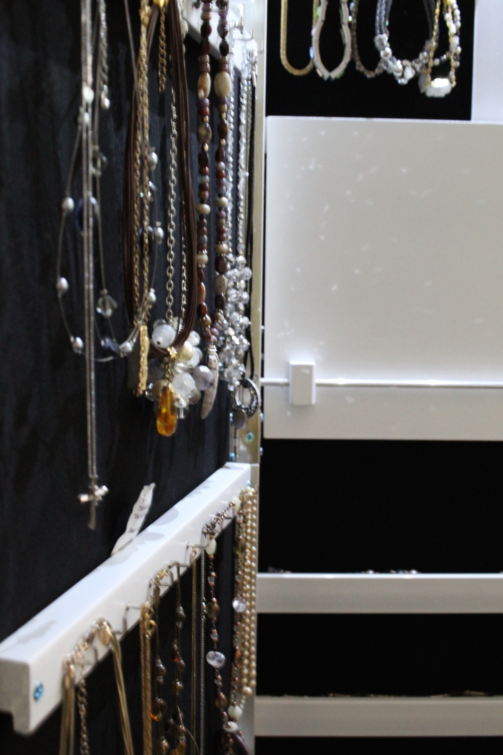 inside of jewelry armoire from Birch Lane
