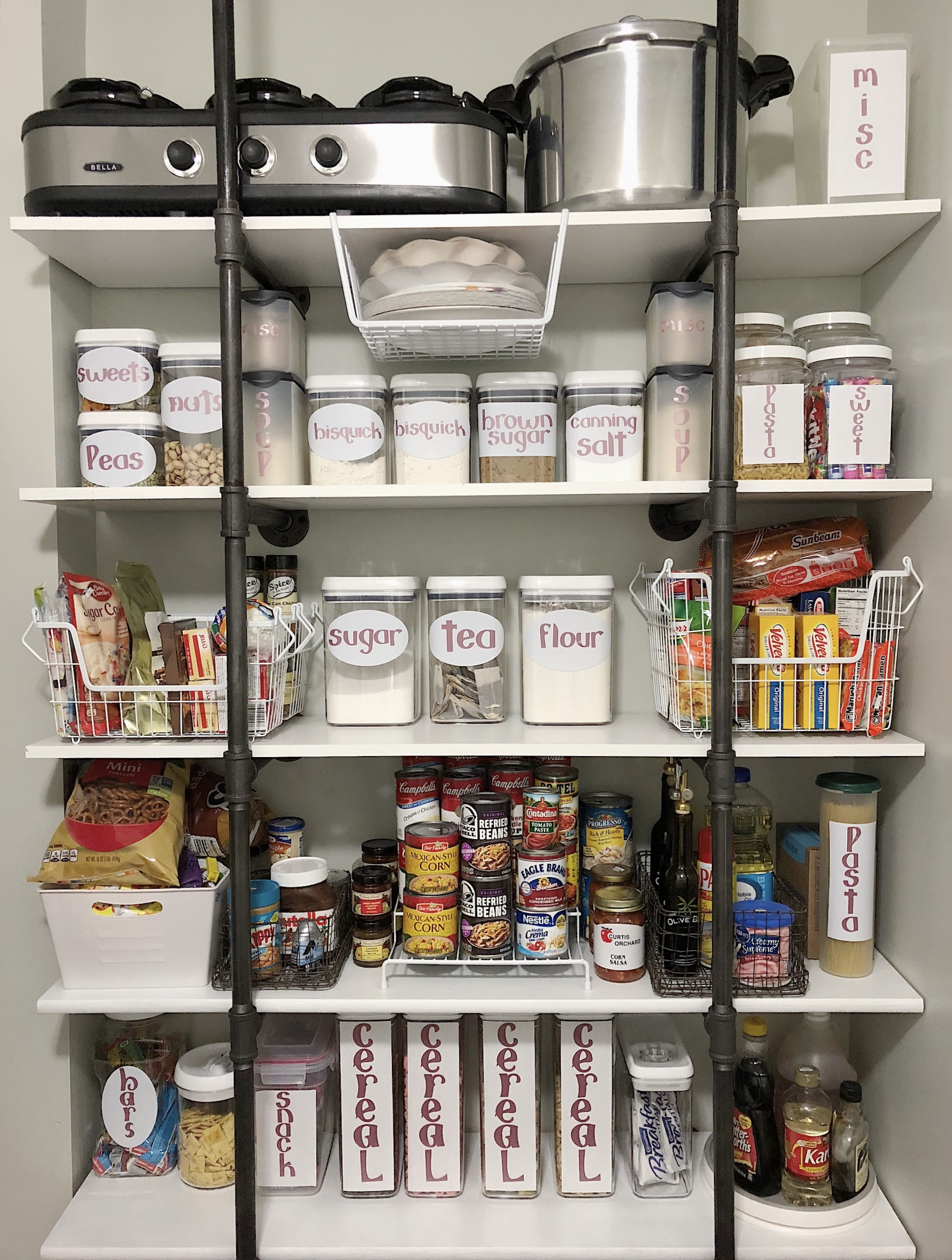 pantry organization with open shelving