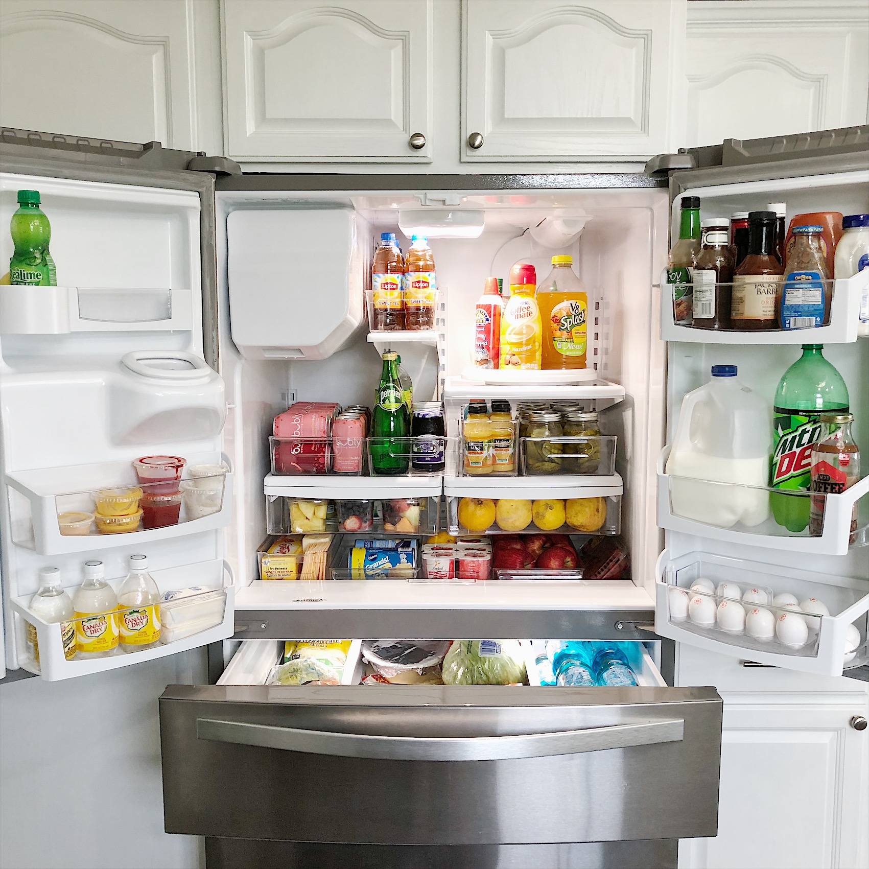 Refrigerator Organization full view with InterDesign bins