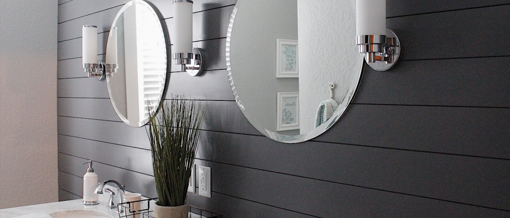 dark shiplap wall for more interest in this chic bathroom remodel