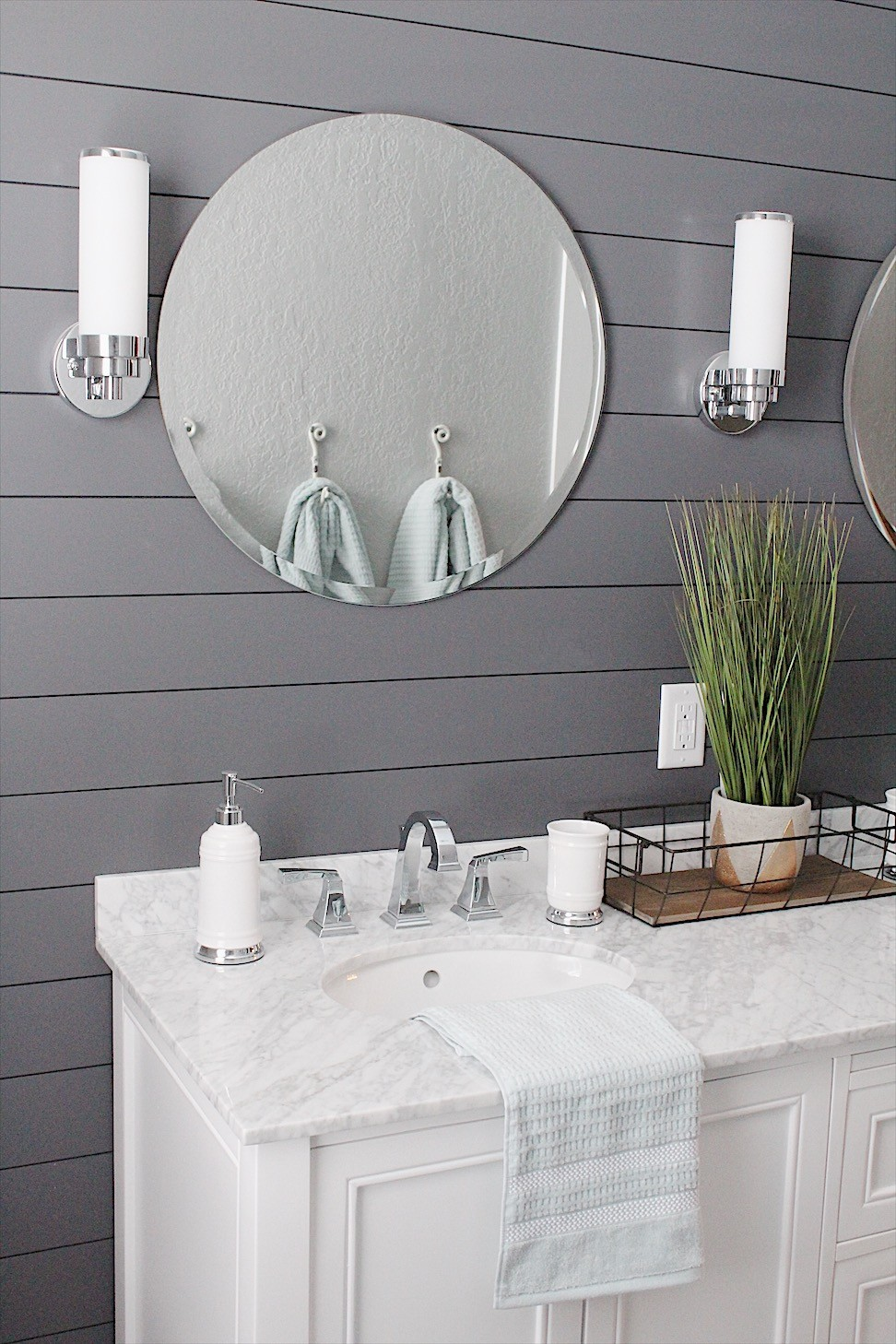 "24"" round chrome mirrors - a touch of chic in this farmhouse bathroom remodel"