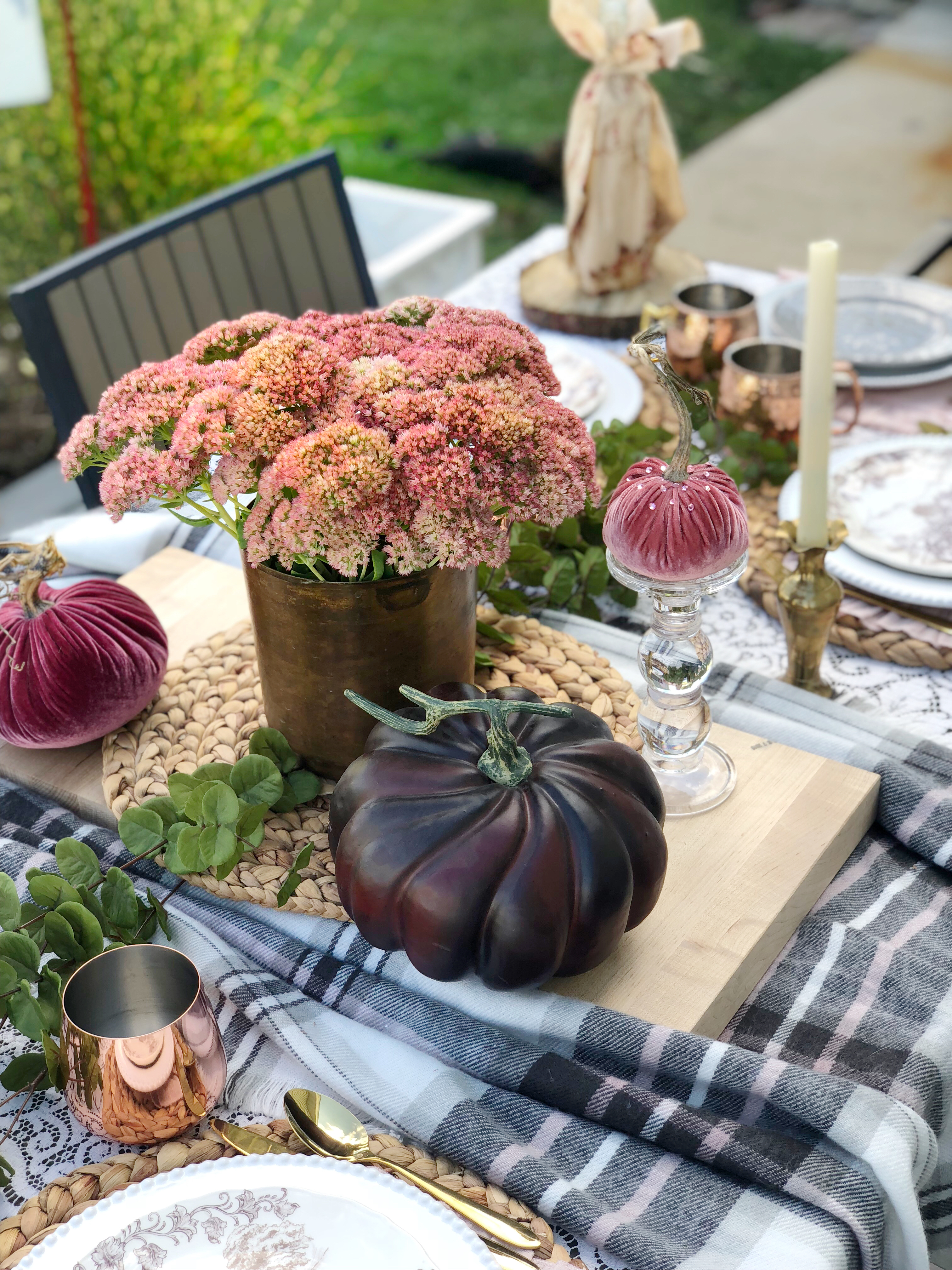 outdoor fall tablescape - copper mixed in