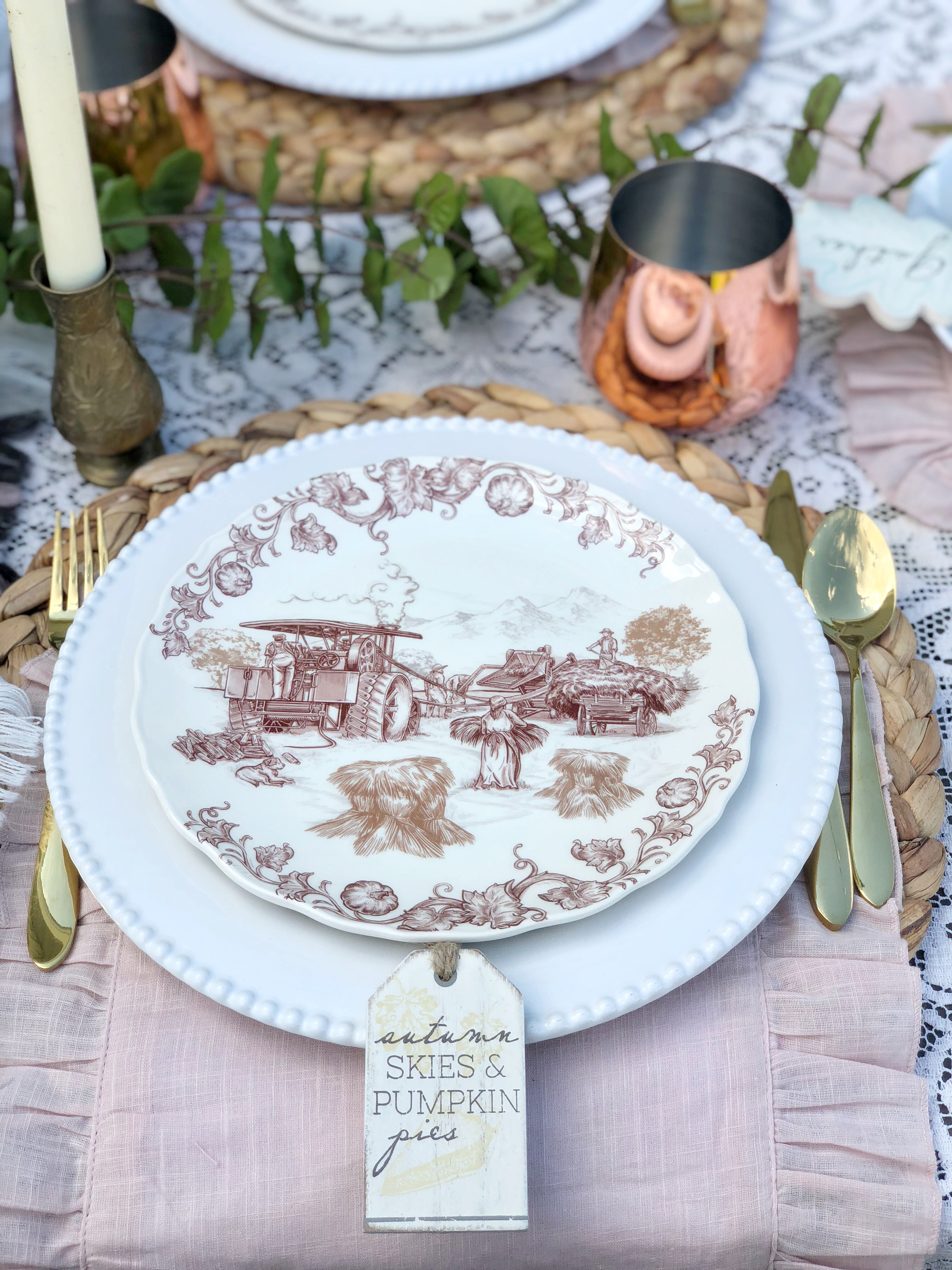 outdoor fall tablescape - vintage inspired farm plates