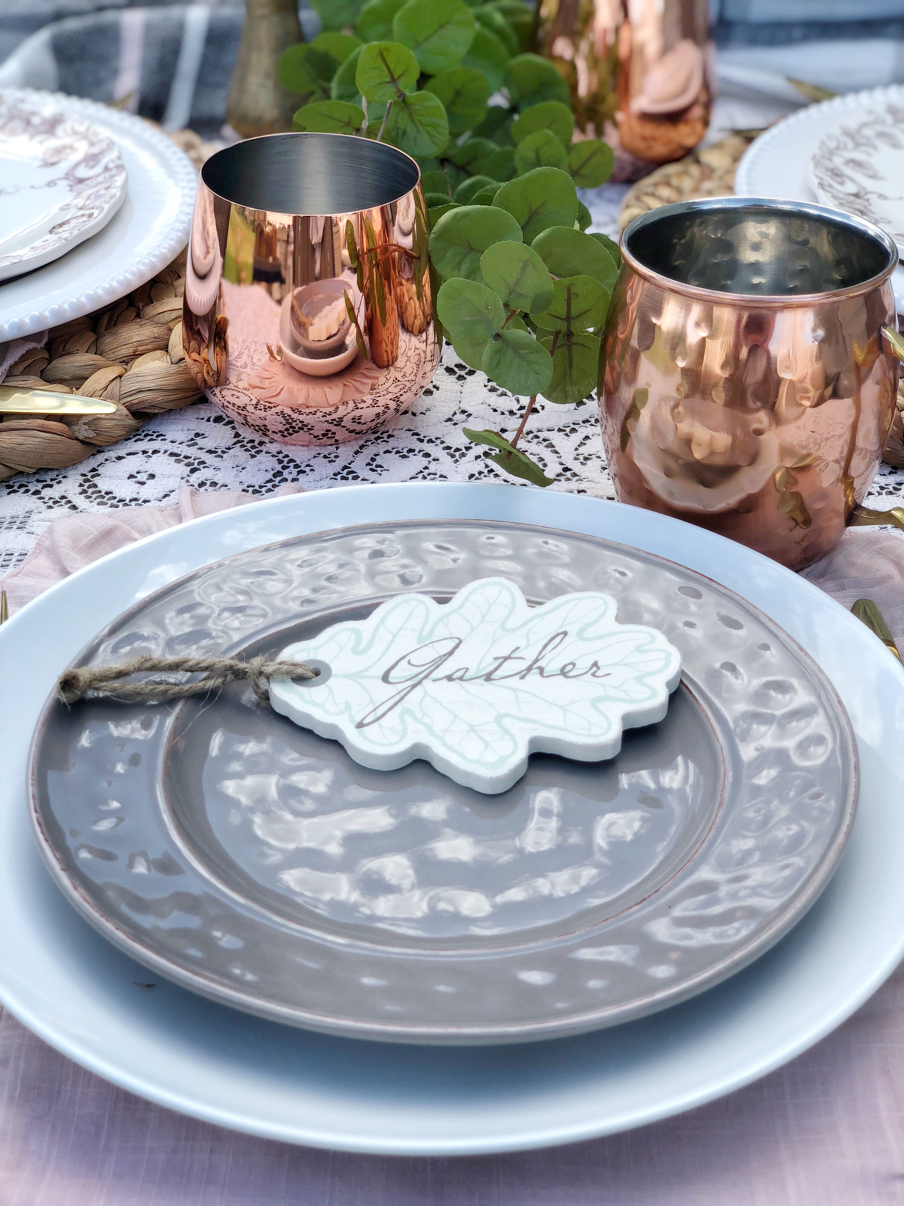 outdoor fall tablescape - wooden tags from Krumpets Home Decor