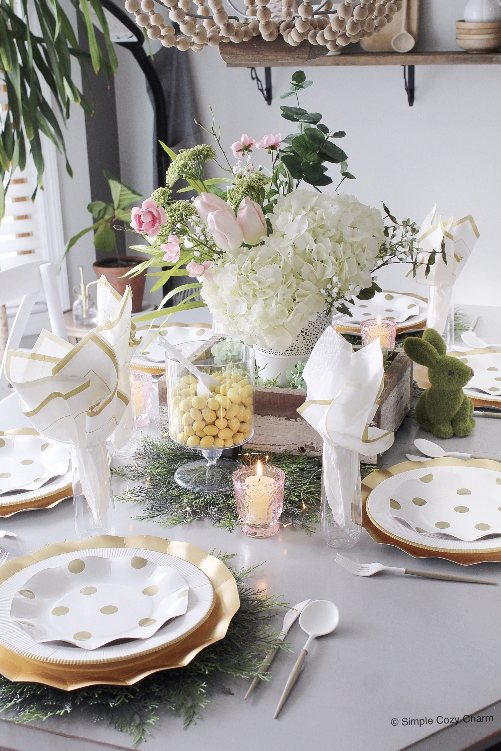 set & toss Easter tablescape