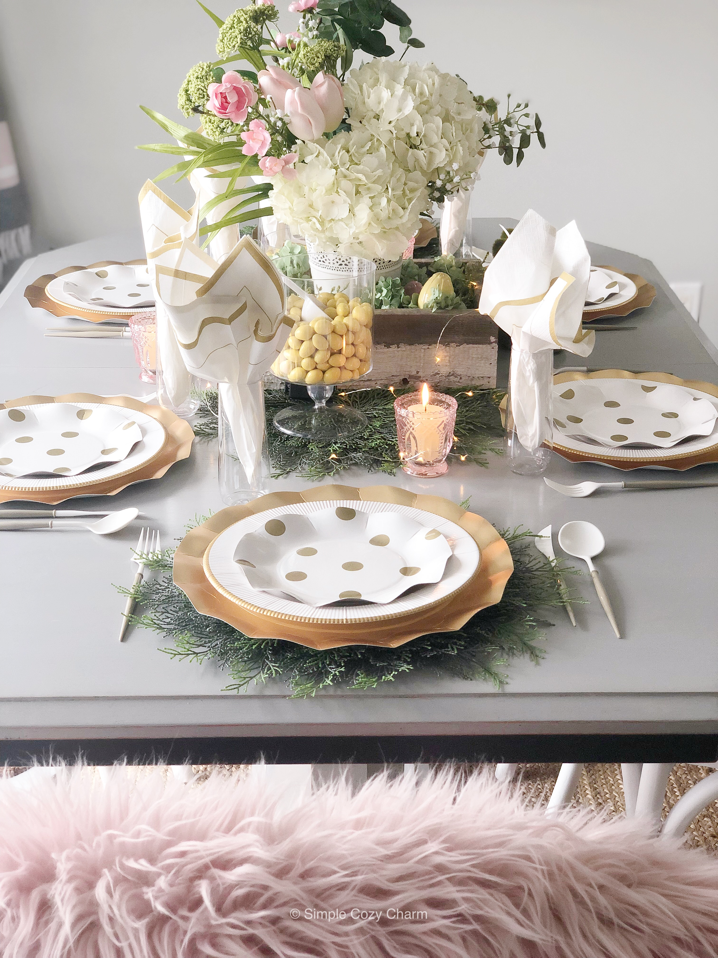 Easter Tablescape - centerpiece created with real and faux blooms