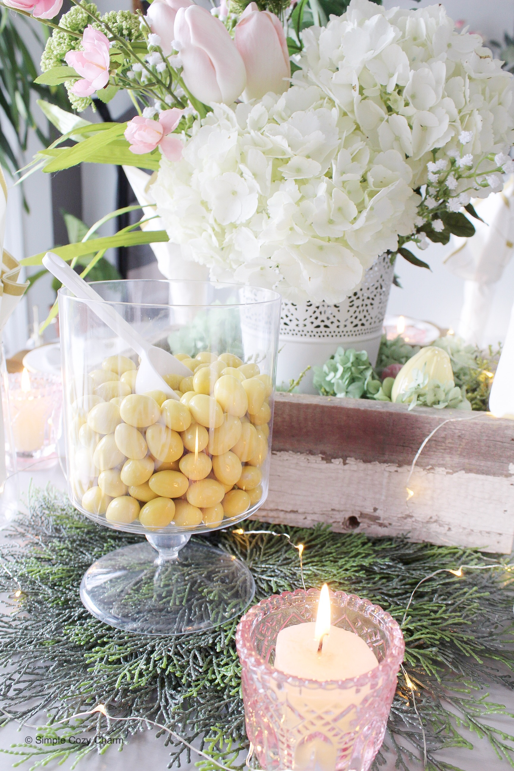 set & toss Easter tablescape - Sconza Lemoncello Chocolate Almonds
