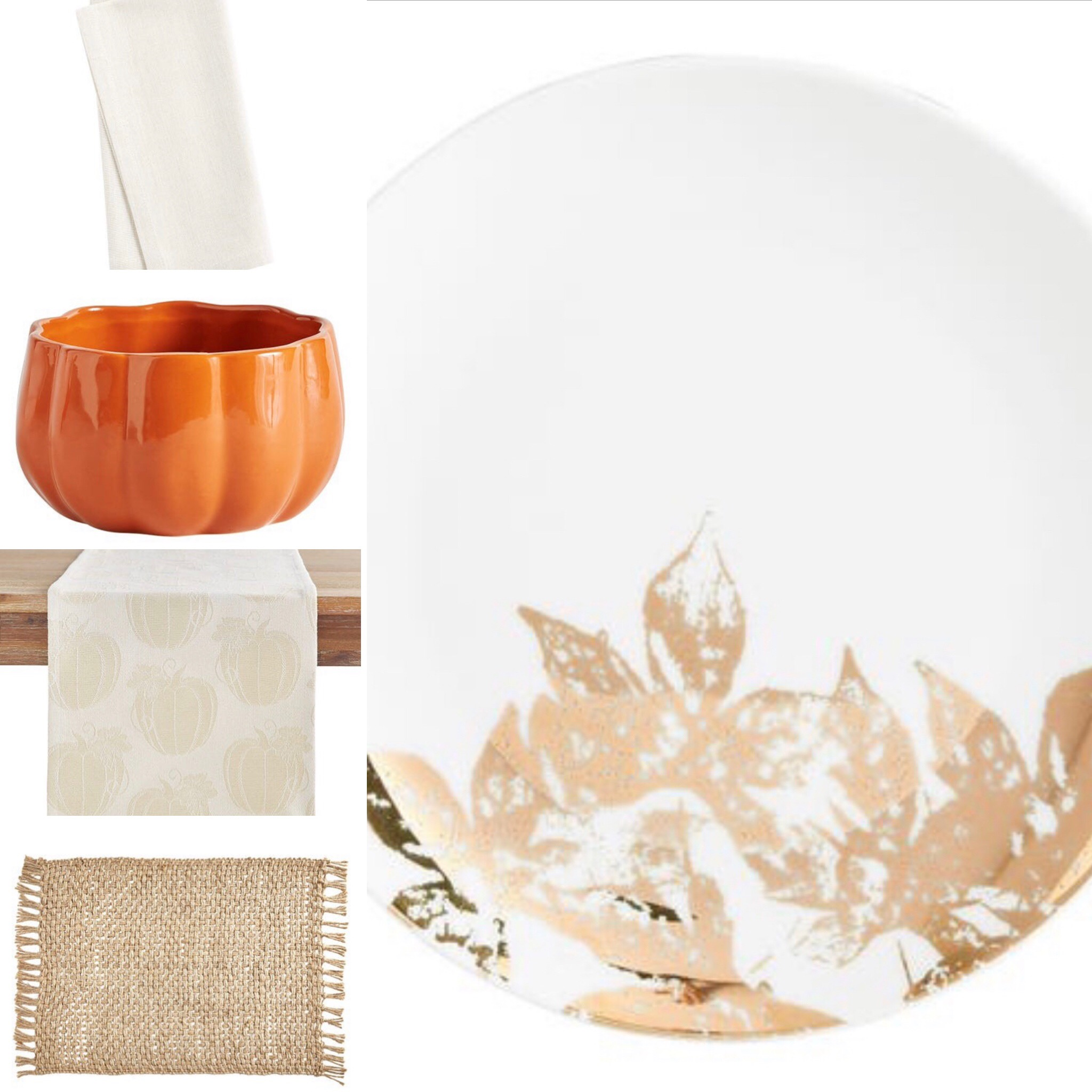 ten fall tablescape combinations - neutral with a hint of pumpkin