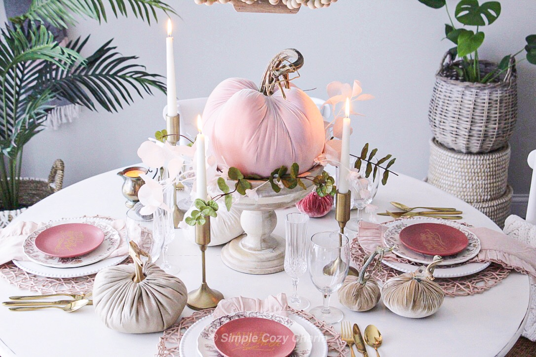 early fall blush tablescape pairing brass and earthy tones