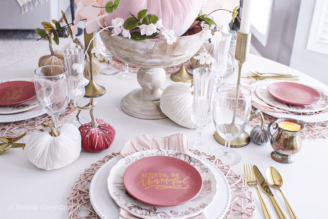 early fall blush tablescape using faux velvet pumpkins and stems
